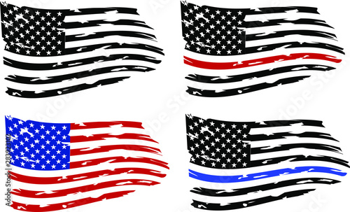 Fotomural  Distressed american flags eps10 Clip Art,