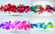 Vector set of abstract geometric 3d facet shapes. Use for banners, web, brochure, ad, poster, etc. Low poly modern style background.