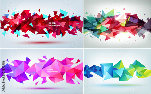 Valokuva Vector set of abstract geometric 3d facet shapes