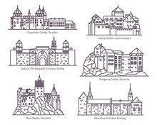 Set Of Castles In Thin Line. Europea Buildings