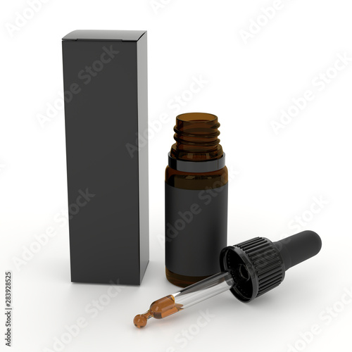 Fotomural  Black Dropper pipette bottle mockup