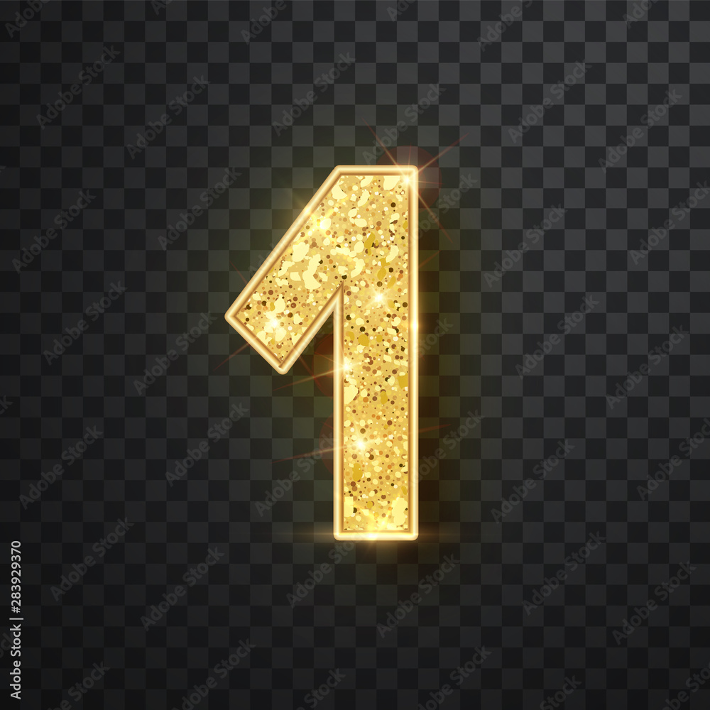 Fototapeta Gold glitter numbers one with shadow. Vector realistick shining golden font figure 1 lettering of sparkles on black background. For decoration of cute wedding, anniversary, party, label, headline