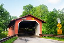 Historic Henry Bridge Covered Bridge Seen From Bennington Vermont