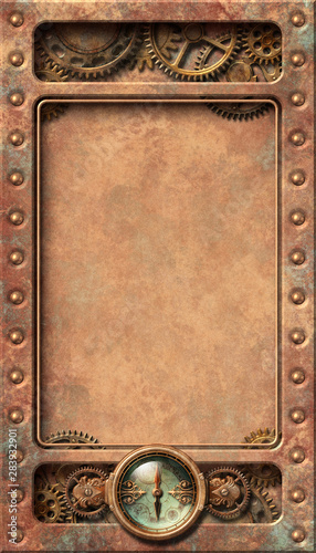 Steampunk aged copper frame illustration Wallpaper Mural