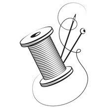 Spool Of Thread And Needle For Hand Sewing Symbol