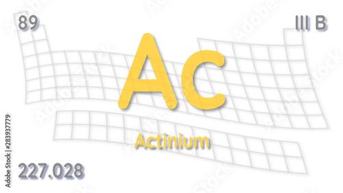 Actinium chemical element  physics and chemistry illustration backdrop Canvas Print