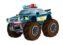 Cartoon Happy And Funny Off Road Police Car Looking Like Monster Truck Smiling Vehicle Illustration For Children