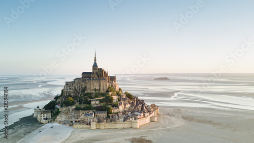 Obraz Le Mont Saint-Michel tidal island in beautiful twilight at dusk, Normandy, France - fototapety do salonu
