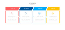 Infographic Design Template.Business Process With 4 Steps. Vector Thin Line Elements For Presentation