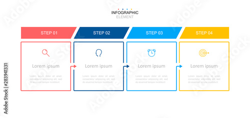 Fototapeta Infographic design template.Business process with 4 steps. Vector thin line elements for presentation obraz