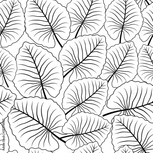 seamless-pattern-with-contour-lines-of-tropical-leaves-on-a-white-background