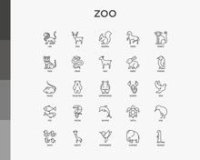 Zoo Thin Line Icons Set: Lion,...