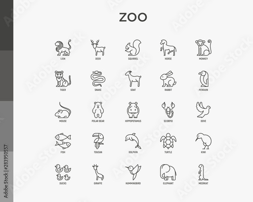 Fotografia Zoo thin line icons set: lion, deer, horse, monkey, tiger, penguin, hippo, giraffe, elephant, turtle