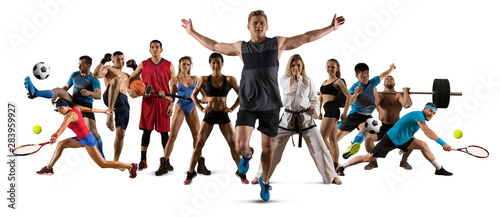 Sport collage. Running, soccer, fitness, bodybuilding, tennis, fighter and basketball players - 283959927