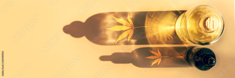 Fototapety, obrazy: Trendy sunlight and shadows from CBD oil bottles on light background Creative composition, minimalism concept Banner
