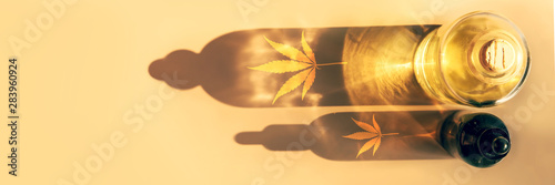 Fototapeta Trendy sunlight and shadows from CBD oil bottles on light background Creative composition, minimalism concept Banner obraz