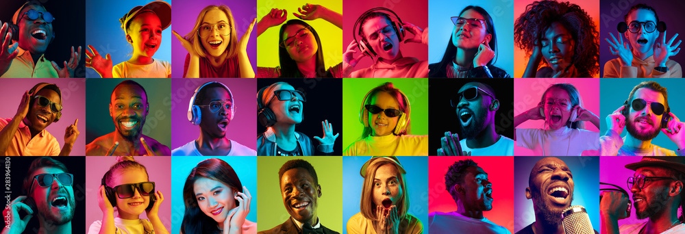 Fototapeta Beautiful male and female portrait on multicolored neon light backgroud. Smiling, surprised, screaming, dance. Human emotions, facial expression. Creative collage made of different photos of 14 models