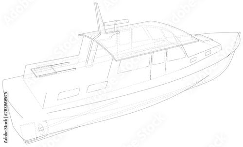 Boat. Technical wire-frame. Vector rendering of 3d. EPS10 format.