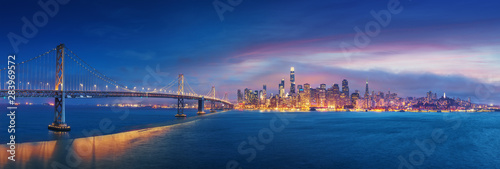 San Francisco Bay Bridge and San Francisco downtown in wide panorama photo Canvas Print