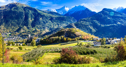 Impressive Alps mountains, scenic valley of castles and vineyards - Aosta, north Canvas Print