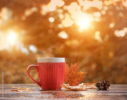 Obraz na plátně  Red mug on rustic wood background