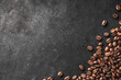 canvas print picture - Fresh Coffee Beans With Dark Background And Copyspace