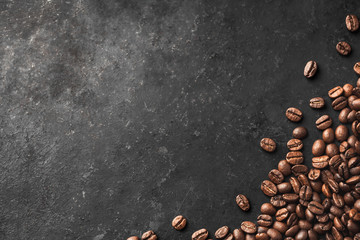 Fresh Coffee Beans With Dark Background And Copyspace