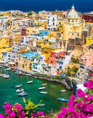 Fototapeta Architektura Landscape with colorful houses on Procida island, Italy