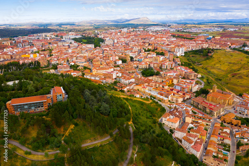 View from drone of Soria cityscape