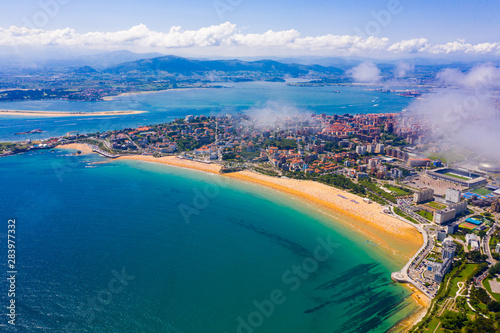 Day aerial cityscape of Santander