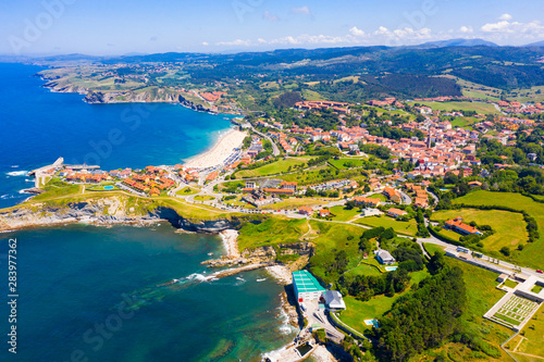 Aerial view of Comillas village, Spain