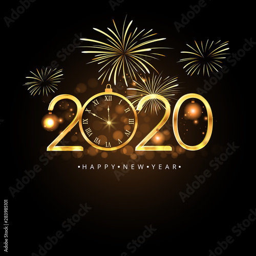 Fototapeta Happy New Year 2020 Vector Illustration Concept