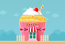 Bakery Cake Shop Store Building Front Vector Illustration