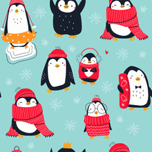 Hand Drawn Vector Set Of Cute Funny Various Penguins. Different Clothing, Various Poses. Colored Trendy Illustration. Flat Design. Seamless Pattern. Snowflakes. Blue Background