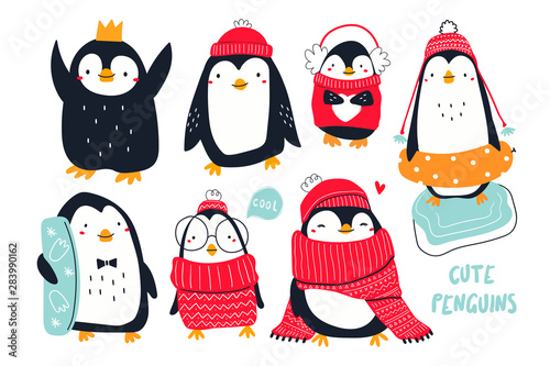 Hand drawn vector set of cute funny various penguins Fototapet
