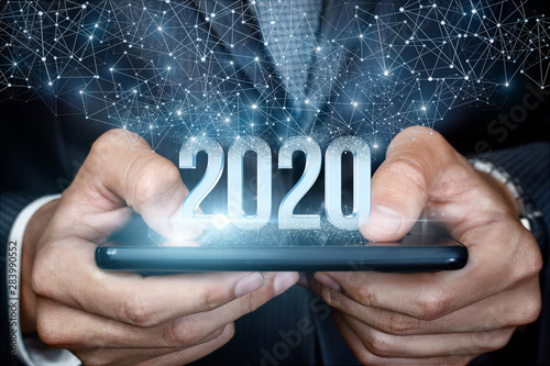 Cuadros en Lienzo  Concept of a new 2020 business year.