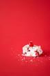 canvas print picture - Slice of white Christmas cake. Australian cherries dessert