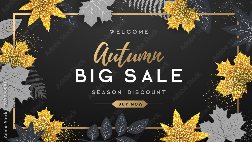 Fototapeta Autumn big sale typography poster with golden and black autumn leaves. Nature concept