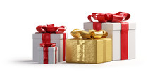 Red White And Golden Christmas Presents Isolated 3d-illustration