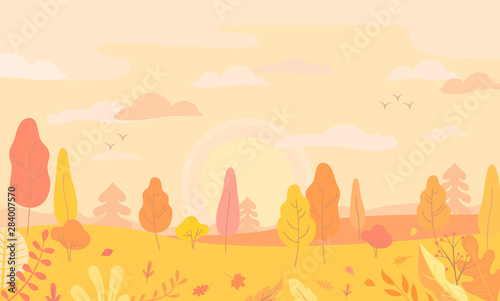 Autumn landscape view with yellow trees, panoramic scene of fall forest, Sunrise, clouds, maple and oak leaves on the ground, flowers and plant. Horizontal banner. Vector illustration.
