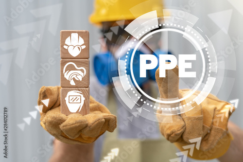 PPE Personal Protective Equipment Required Industry concept Canvas Print