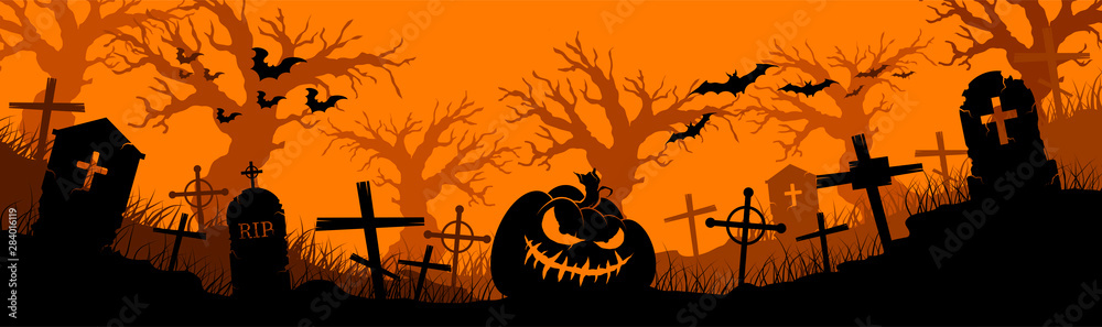 Fototapeta Happy Halloween banner. Halloween pumpkins and bats. Vector illustration.