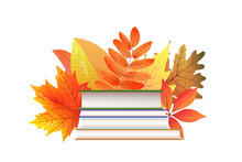 Books And Autumn Leaves Flat Vector Illustration