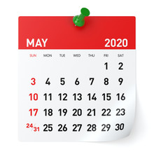 May 2020 - Calendar. Isolated ...
