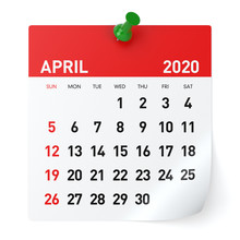 April 2020 - Calendar. Isolate...