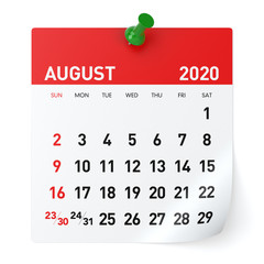 August 2020 - Calendar. Isolated on White Background. 3D Illustration