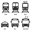 Set of passenger transport vector icons: Train, metro, bus, trolleybus, taxi. Black symbols isolated on white. Signs for public transport stops and schemes.