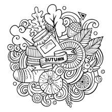 Cartoon Doodles Autumn Illustr...