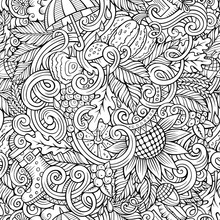 Cartoon Cute Doodles Hand Drawn Autumn Seamless Pattern