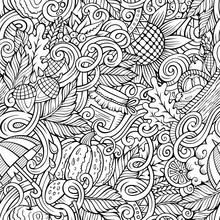 Cartoon Cute Doodles Hand Drawn Autumn Seamless Pattern